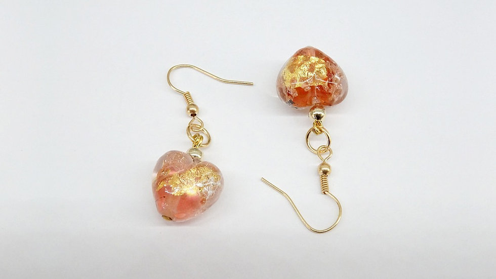 Heart Murano glass earrings with gold