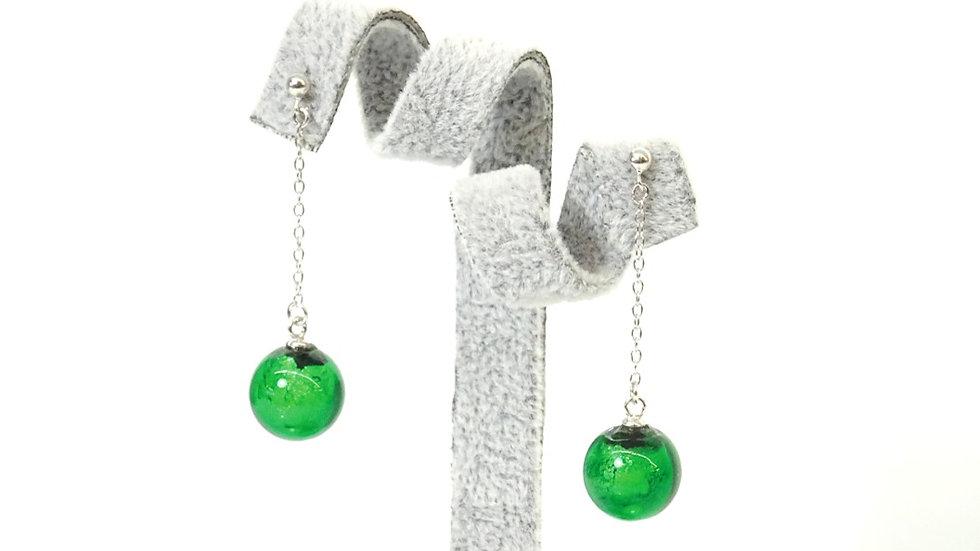 Murano glass earring, green