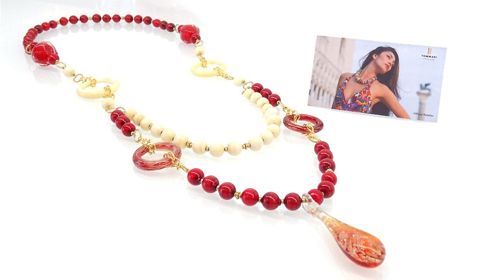 Red Murano glass necklace, boho layered necklace