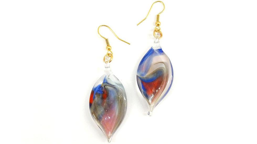 Original Murano glass earrings, leaf-shaped