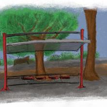 Illustration einer Bushaltestelle
