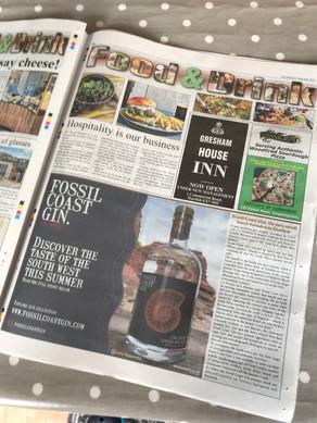 Fossil Coast Gin in the Local Devon Press