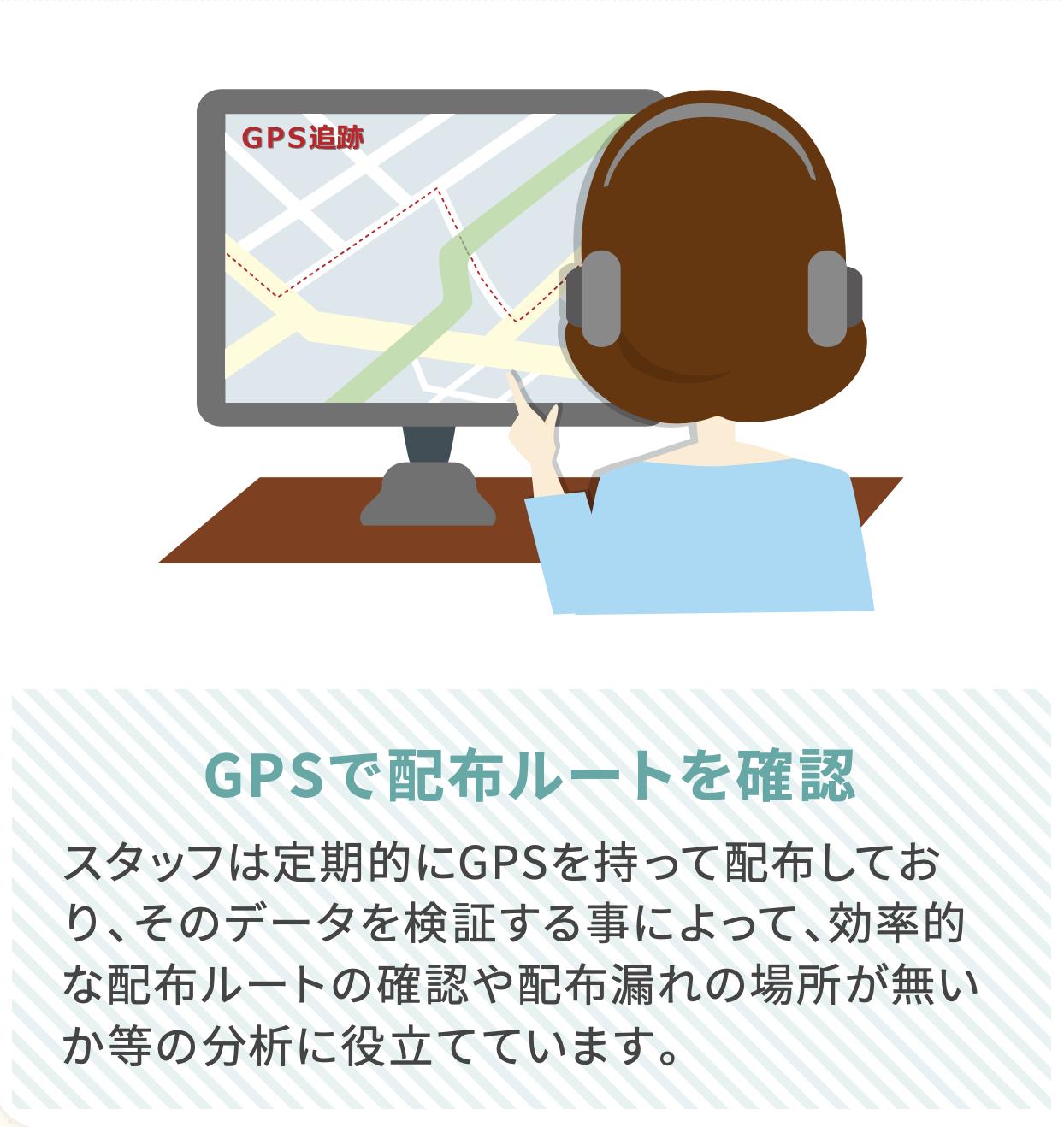 GPSで配布ルートを確認