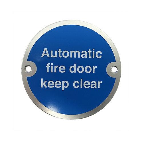 Automatic Fire Door Keep Clear Aluminium Door Sign