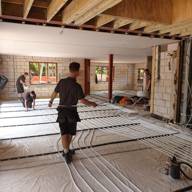 Underfloor heating installation, Eynsford