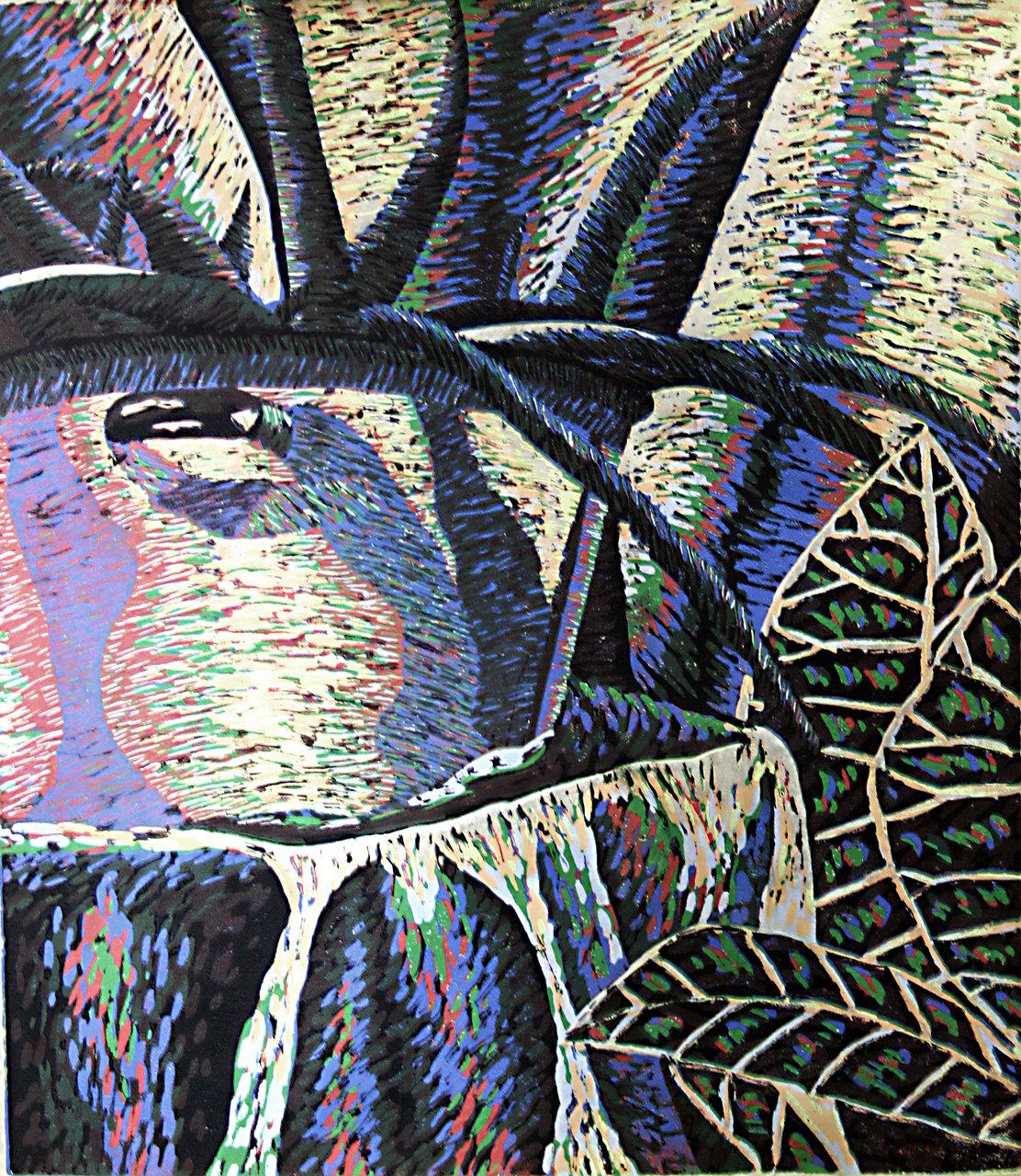 Linoleum carving print still life