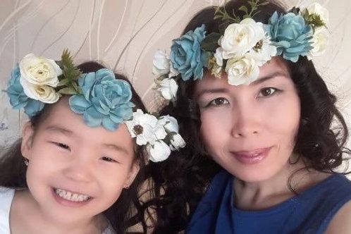 Blue Floral Crown Set