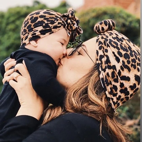 Leopard Turban Set - Adult & Child