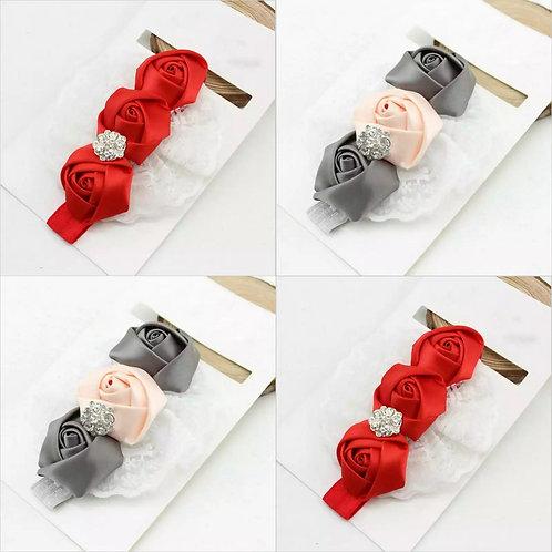 Triple Rose Headband (Three Colours)