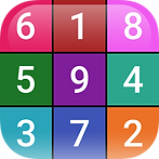 App icon for Sudoku Simple. A nine space grid, each cell a different color and containing a different number from 1 to 9