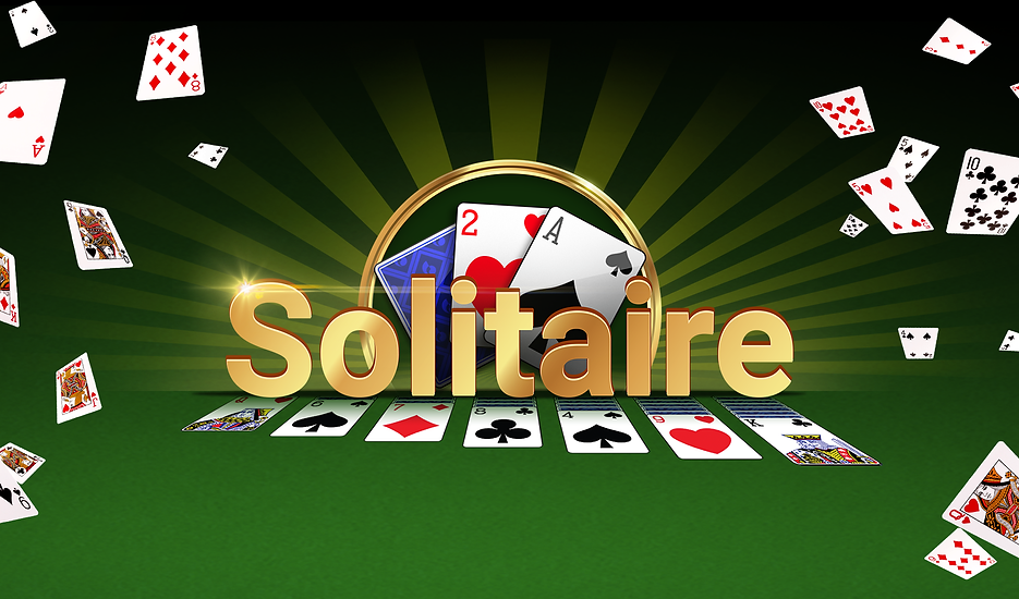 Solitaire in big gold shiny letters above a perspective layout of solitaire playing cards. Behind the title, three cards, two revealed, surrounded by a gold halo. Playing cards falling down on the left and right, everything on a green felt background