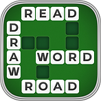 App icon for Word Wiz. A crossword puzzle field with some empty spaces and the words Read, Draw, Word, and Road filled in. On a green felt background with a silver border