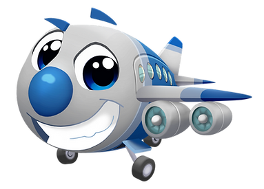 Cartoon airplane, silver with blue details, wide eyes and a big smile