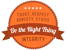 "Orange badge with rope border containing five white stars and the words ""trust, respect, honesty, ethics, integrity"" and a flag banner across the middle that says ""Do the Right Thing"""