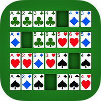 App icon for Addiction solitaire. Green felt background with cards in the Addiction layout, four rows of cards, with one missing space each, Green clubs, blue diamonds, red hearts, black spades