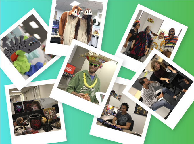 Various photos of people in costumes and working, each photo with a white border like a polaroid, on a blue green gradient background