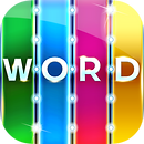 App icon for Word Search. Four colored stripes in green, blue, pink, and yellow, with the letters W O R D on each color and small lights between each row