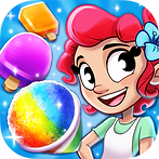 App icon for Tropical Treats. Blue sparkle background with a cartoon girl on the right side. She has red hair with a blue flower in it, wearing a light green shirt and apron. On her left are an orange popsicle, purple popsicle, and rainbow snow cone