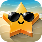 App icon for Sunny Shapes. Background looks like a sandy beach and some water, a dimensional, yellow, five pointed star lays on the beach with sunglasses and a small smile