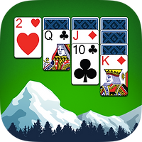 App icon for Yukon Russian. Green felt background with illustrated mountains and trees at the bottom, four colums of playing cards above, with one, two, three, and four cards respectively