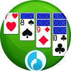 A round icon, green felt background, and four columns of cards with one, two, three, and four cards from left to right. The top cards on the stack are face side up, the cards below are face side down