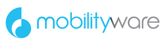 "Mobilityware logo, dark sky blue ""shell"" logomark followed by mobility in the same blue and ware in gray"