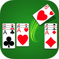 App icon for Aces Up. Green felt background with four colums of playing cards, first and last with four cards, second from left with three cards, and third column with a card swooping up and to the right out of the column