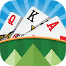 App icon for TriPeaks. Three playing cards arranged to look like three mountain peaks on a blue background behind a green hill