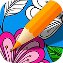 App icon for ColorArt. A yellow pencil touching a partially finished coloring page with pinks, blues, and greens