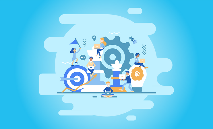 illustrated image. Blue background with a collage of people working on laptops and sitting on objects such as a lightbulb, a chess piece, a target with an arrow, and a giant gear