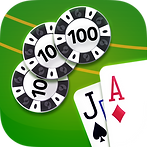 App icon for Blackjack. Jack of Spades and Ace of Diamonds next to three 100 value poker chips on a green felt background