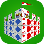 App icon for Castle Solitaire. Playing cards arranged to look like a castle in perspective on a green felt background