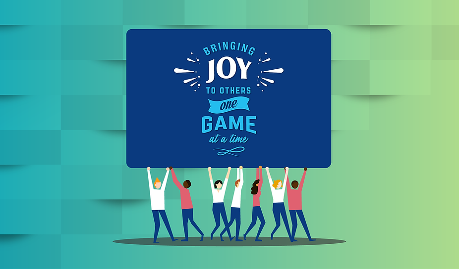 "Cartoon people holding up a dark blue card with the company mission statement ""Bringing Joy to Others One Game at a Time"" on a blue to green gradient background"