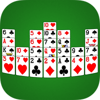 App icon for Crown solitaire. Playing cards arranged to look like a crown on a green felt background