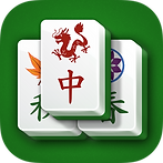 App icon for Mahjong. Green felt background with three Mahjong tiles, two on the bottom and one on the top with a red dragon and Chinese character