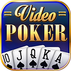 A blue background with a gold border. At the bottom sits five cards fanned out, 10 of spades through Ace of spades. Above are the words Video Poker in gold shiny letters