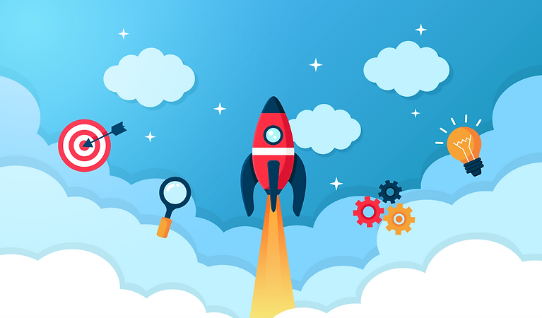 An illustrated image. Blue background sky with clouds and stars, a rocket ship blasting up in the middle. On the left a target with an arrow hitting the mark and a magnifying glass. On the right three gears next to a lightbulb