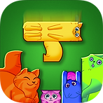 App icon for Puzzle Cats. green felt background with four cat shape pieces at the bottom, a fifth yellow t-shaped cat is falling from the top to fit perfectly into the gap around the other cats