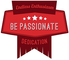 "Red badge with a vertical flag penant and the words ""Endless Enthusiasm, Dedication"" behind a stretched pentagon shape containing five white stars and the words ""Be Passionate"""