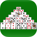 App icon for Pyramid solitaire. Playing cards arranged in a pyramid shape on a green felt background