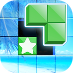 App icon for Tetra Block. A four by four grid with a tropical beach scene image. The inner four squares are different, bottom left is green with a white star. The other three are green and dimensional, hovering above an empty black space where they would fit
