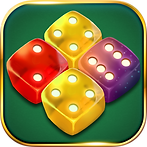 App icon for Dice Merge. Green felt background with gold border. Four translucent dice sit together to form a diamond shape. The top and bottom die are yellow, the left is red, the right is purple.