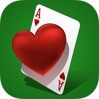 App icon for Hearts. green felt background with a single Ace of Hearts card tilted onto one corner and slightly in perspective, and a big dimensional heart floating off from the center of the card