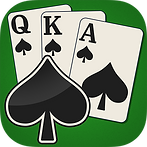App icon for Spades. green felt background with three playing cards fanned out, Queen, King, and Ace of spades, with a large black spade with a white outline sitting over the bottom left of the cards