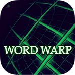 """App icon for Word Warp. Black background with green grid lines at a perspective angle fading away and the words """"Word Warp"""""""