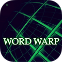 "App icon for Word Warp. Black background with green grid lines at a perspective angle fading away and the words ""Word Warp"""