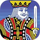 App icon for Freecell. King from a playing card holding sword on a blue lined background