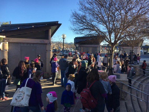 Gathering at the BART station to attend the Women's March in Oakland 2018