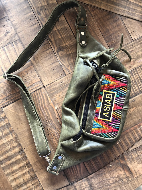 Handmade Green Leather Fanny Pack