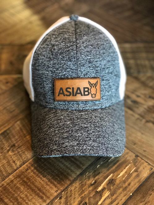 grey & white hat with leather ASIAB patch